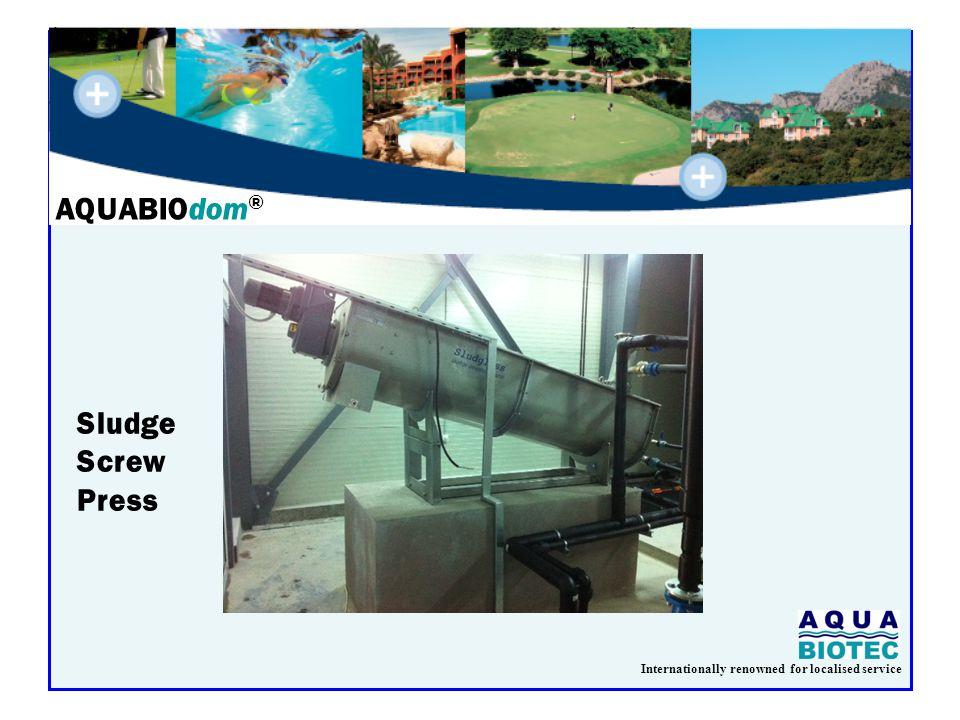 Internationally renowned for localised service AQUABIOdom ® Sludge Screw Press