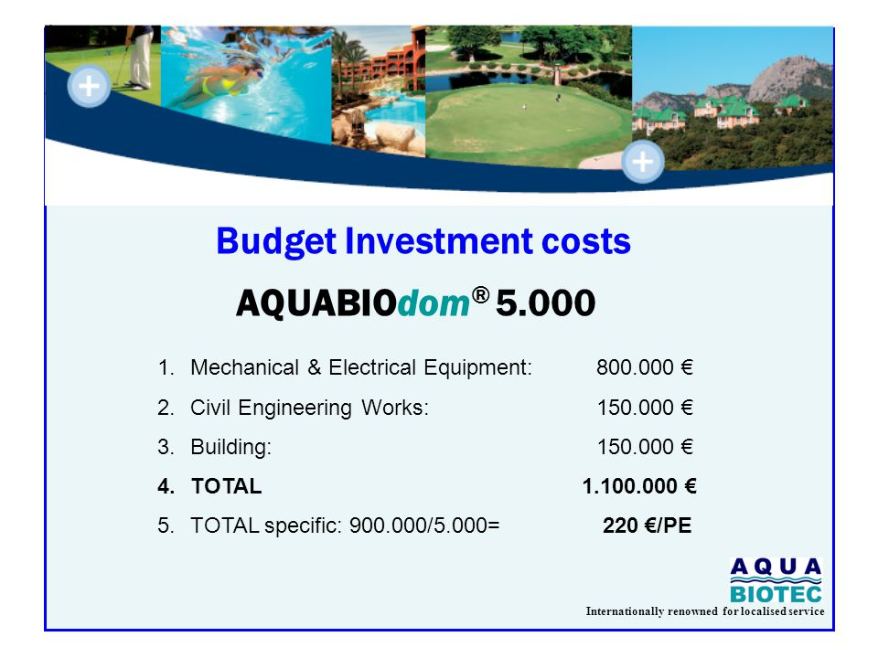 Internationally renowned for localised service Budget Investment costs AQUABIOdom ® 5.000 1.Mechanical & Electrical Equipment:800.000 € 2.Civil Engineering Works:150.000 € 3.Building:150.000 € 4.TOTAL 1.100.000 € 5.TOTAL specific: 900.000/5.000= 220 €/PE