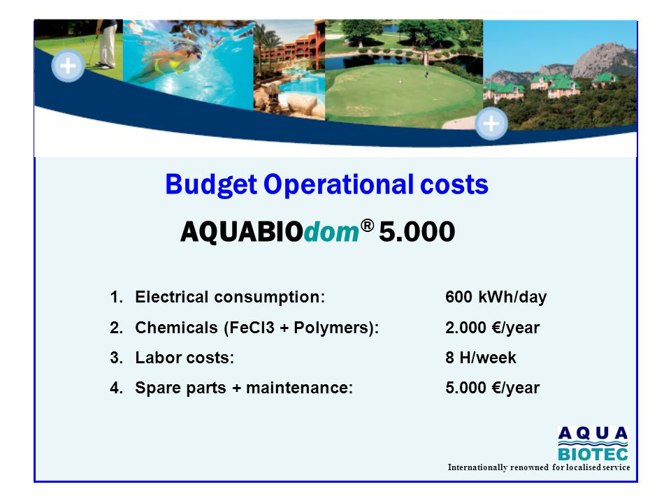 Internationally renowned for localised service Budget Operational costs AQUABIOdom ® 5.000 1.Electrical consumption:600 kWh/day 2.Chemicals (FeCl3 + Polymers):2.000 €/year 3.Labor costs:8 H/week 4.Spare parts + maintenance: 5.000 €/year