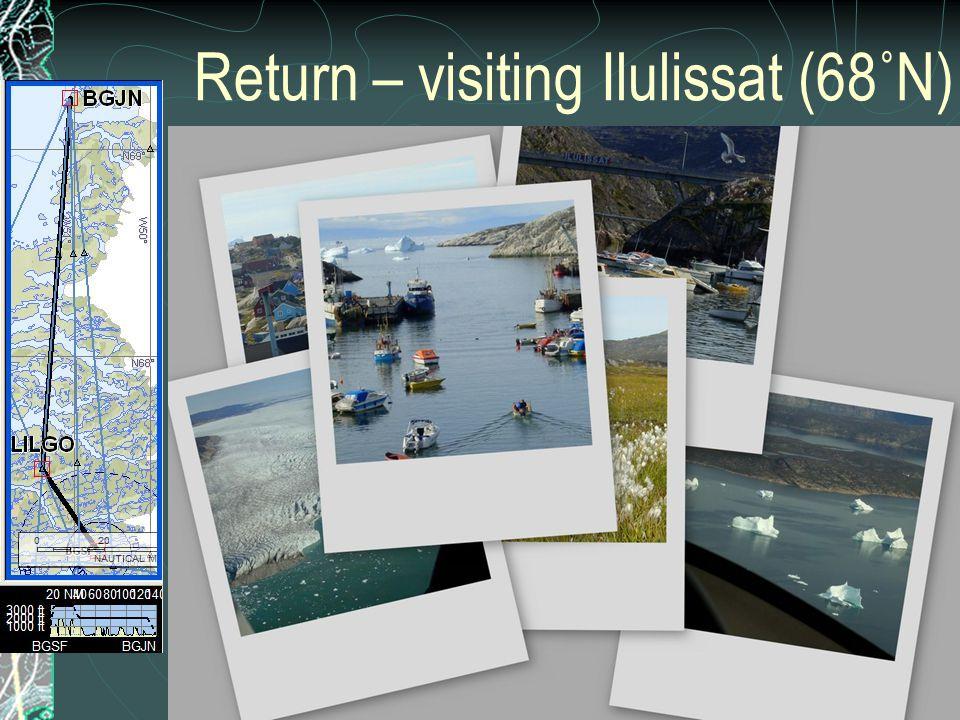 Return – visiting Ilulissat (68˚N)