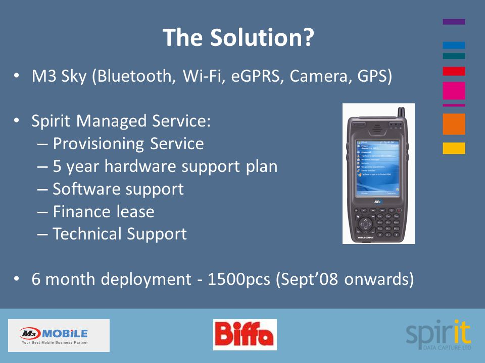 The Solution? M3 Sky (Bluetooth, Wi-Fi, eGPRS, Camera, GPS) Spirit Managed Service: – Provisioning Service – 5 year hardware support plan – Software s