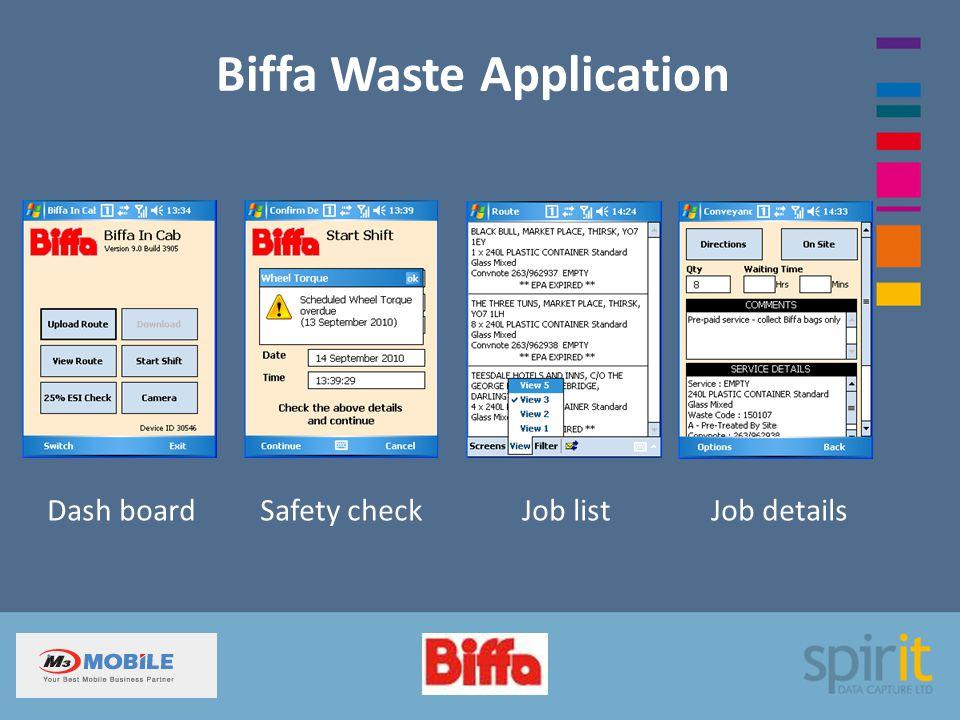 Biffa Waste Application Dash board Safety check Job list Job details