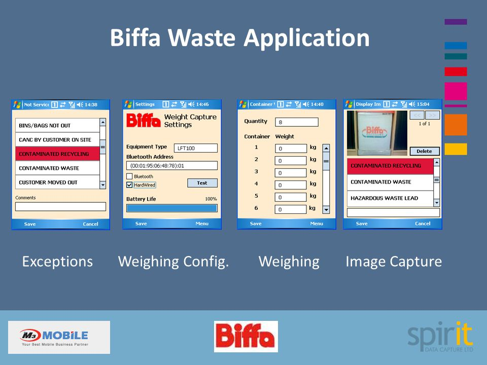 Biffa Waste Application Exceptions Weighing Config. Weighing Image Capture