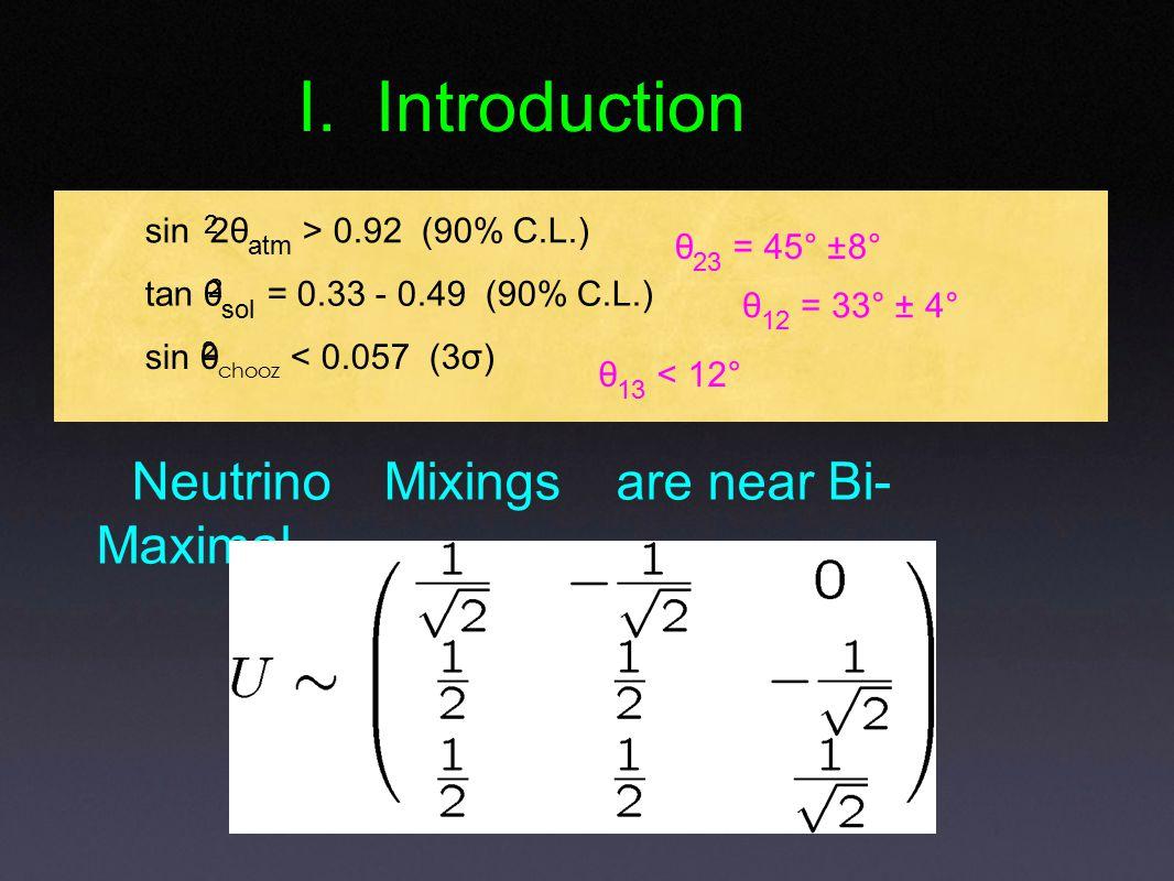 Neutrino Mixings are near Bi- Maximal I.