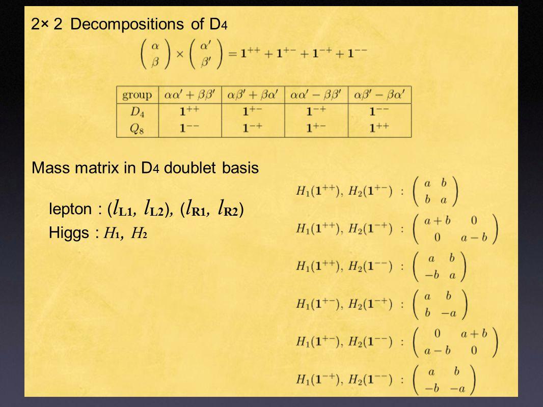 2× 2 Decompositions of D 4 Mass matrix in D 4 doublet basis Higgs : H 1, H 2 lepton : ( l L1, l L2 ), ( l R1, l R2 )