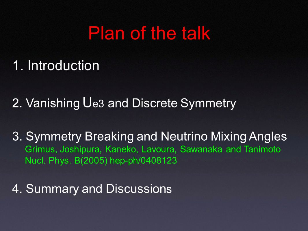 Plan of the talk 1. Introduction 2. Vanishing U e3 and Discrete Symmetry 4.