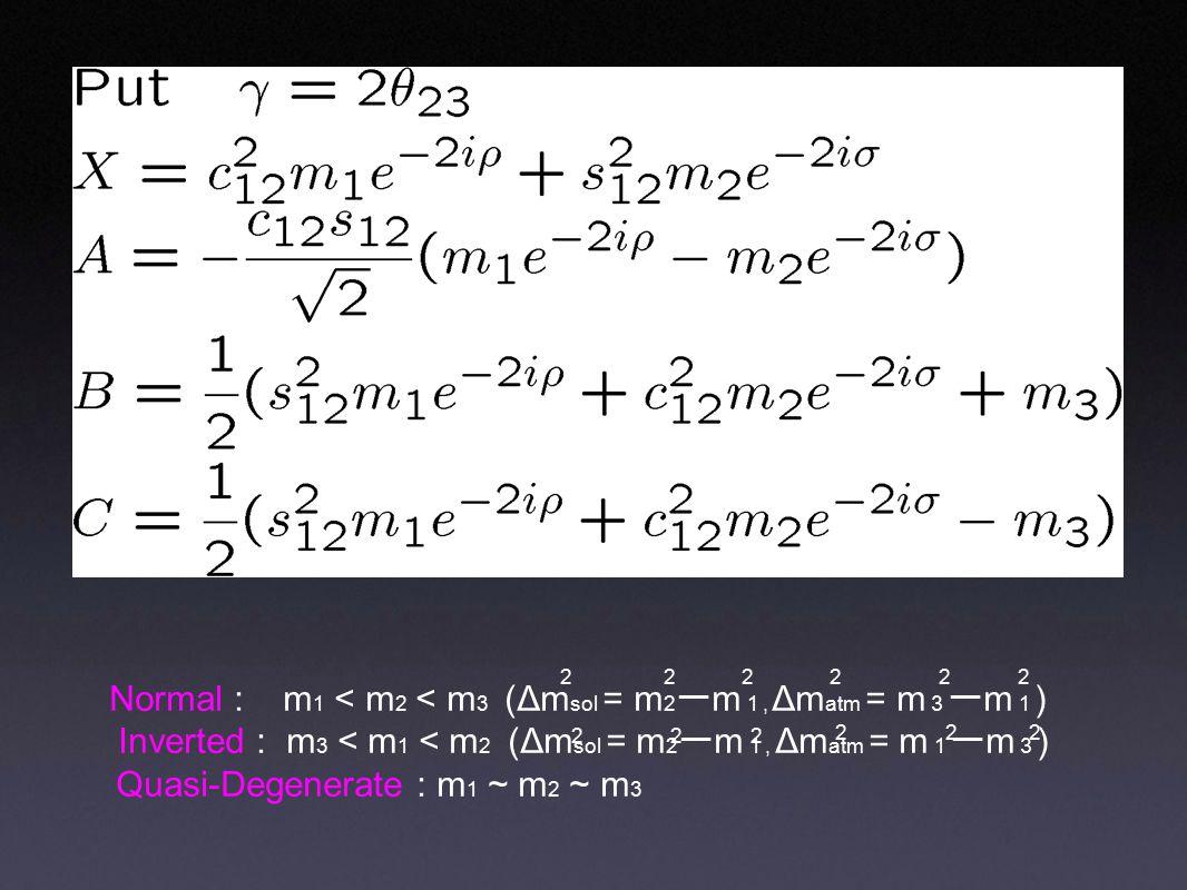 2 2 2 2 Normal : m 1 < m 2 < m 3 (Δm sol = m 2 ー m 1, Δm atm = m 3 ー m 1 ) Inverted : m 3 < m 1 < m 2 (Δm sol = m 2 ー m 1, Δm atm = m 1 ー m 3 ) Quasi-Degenerate : m 1 ~ m 2 ~ m 3 2 2 222 222