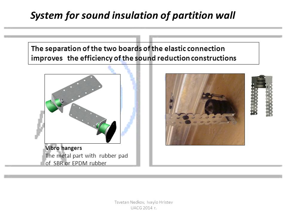 The separation of the two boards of the elastic connection improves the efficiency of the sound reduction constructions Vibro hangers The metal part w
