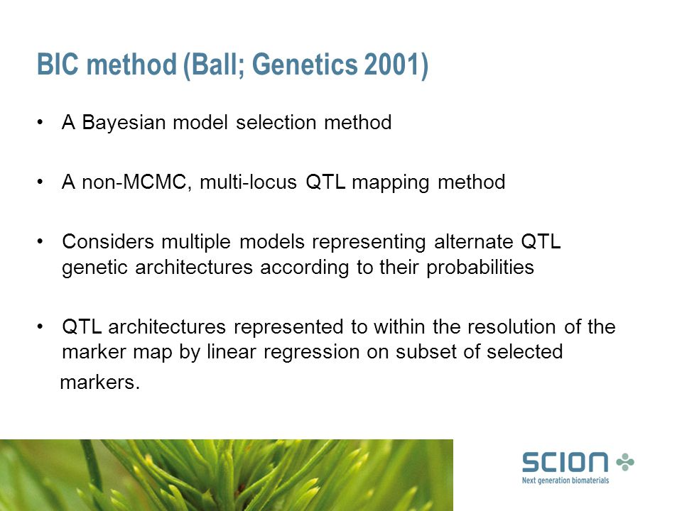 BIC method (Ball; Genetics 2001) A Bayesian model selection method A non-MCMC, multi-locus QTL mapping method Considers multiple models representing alternate QTL genetic architectures according to their probabilities QTL architectures represented to within the resolution of the marker map by linear regression on subset of selected markers.