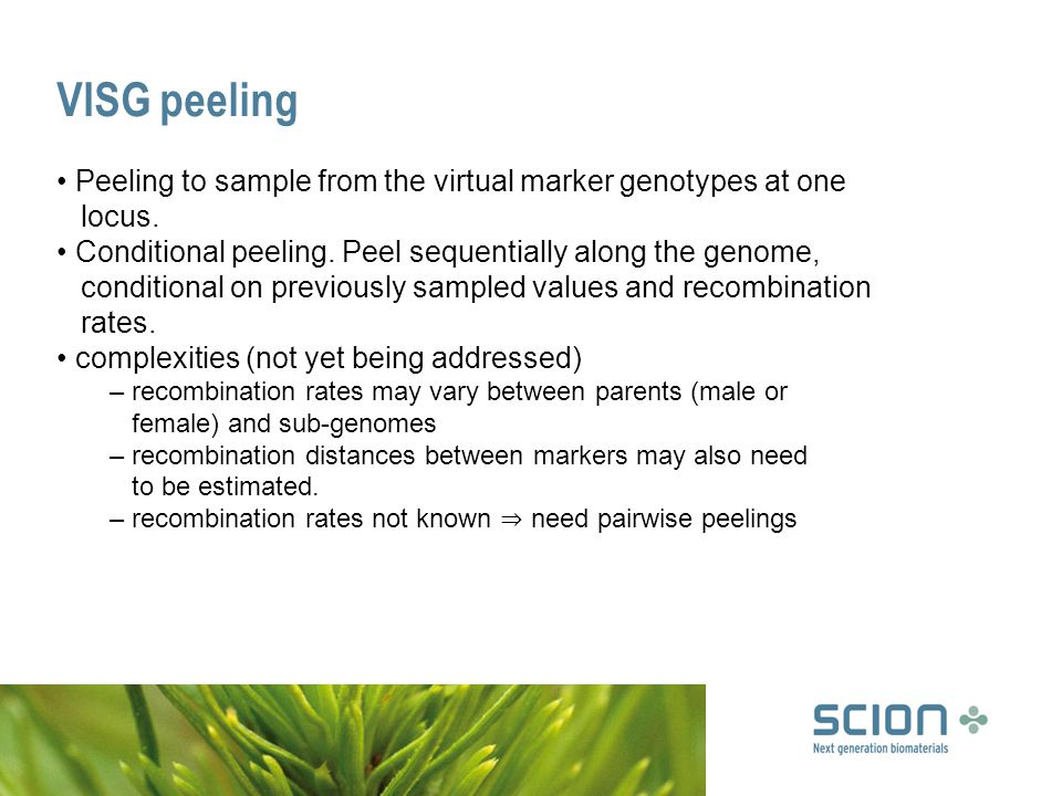 VISG peeling Peeling to sample from the virtual marker genotypes at one locus.