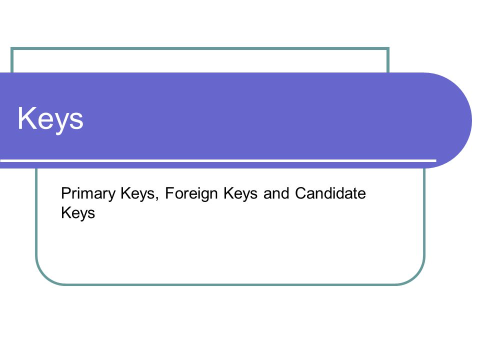 Keys Primary Keys, Foreign Keys and Candidate Keys