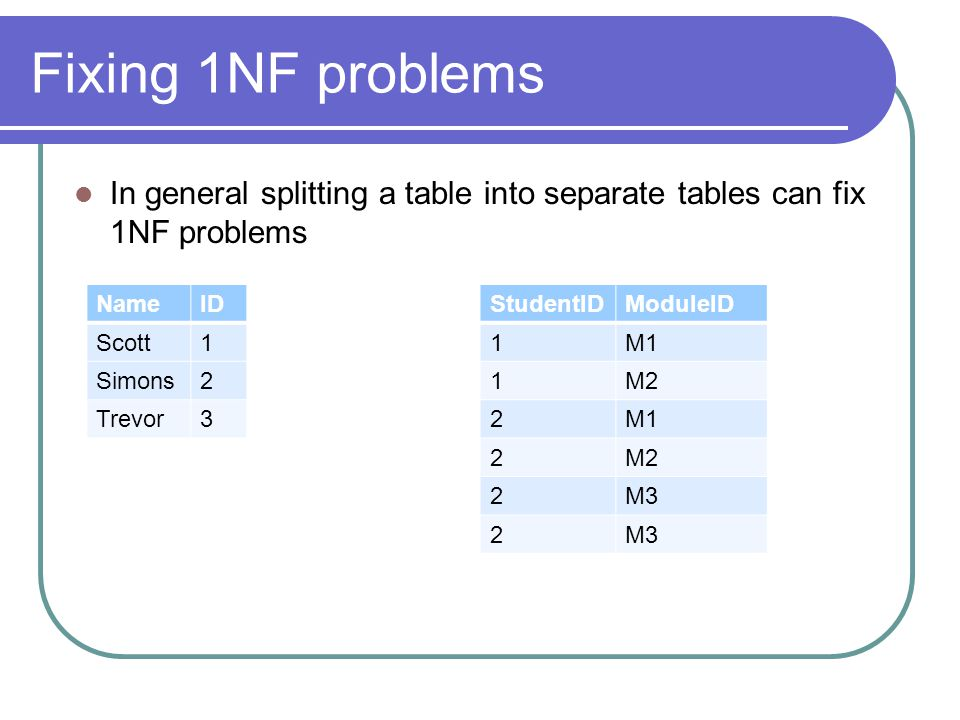 Fixing 1NF problems In general splitting a table into separate tables can fix 1NF problems NameID Scott1 Simons2 Trevor3 StudentIDModuleID 1M1 1M2 2M1