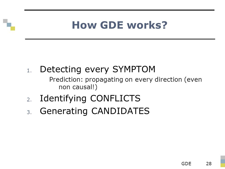GDE28 How GDE works? 1. Detecting every SYMPTOM Prediction: propagating on every direction (even non causal!) 2. Identifying CONFLICTS 3. Generating C