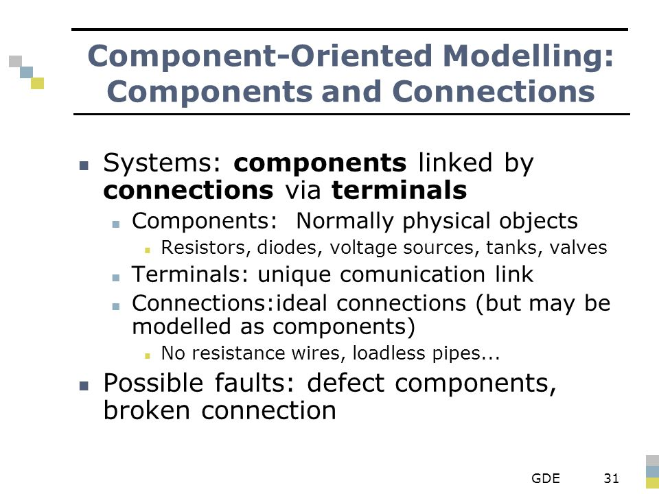 GDE31 Component-Oriented Modelling: Components and Connections Systems: components linked by connections via terminals Components: Normally physical o