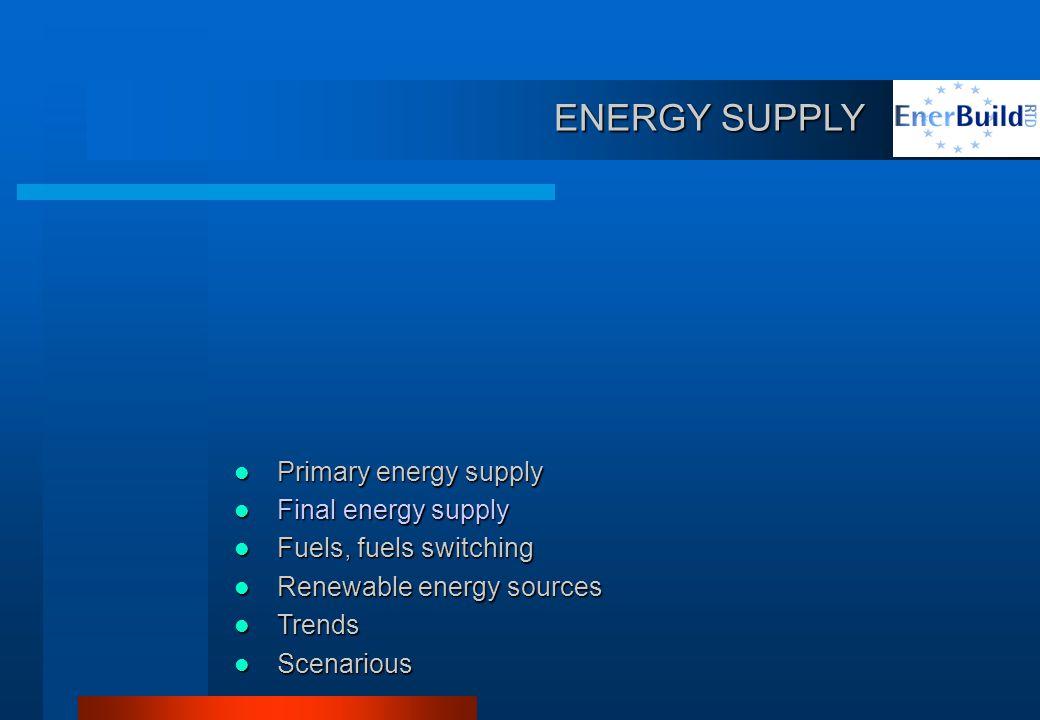 ENERGY SUPPLY ENERGY SUPPLY Primary energy supply Primary energy supply Final energy supply Final energy supply Fuels, fuels switching Fuels, fuels switching Renewable energy sources Renewable energy sources Trends Trends Scenarious Scenarious
