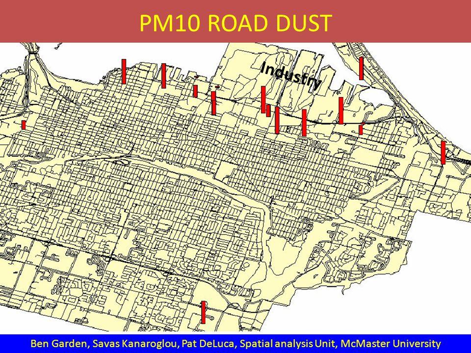 PM10 ROAD DUST Ben Garden, Savas Kanaroglou, Pat DeLuca, Spatial analysis Unit, McMaster University Industry