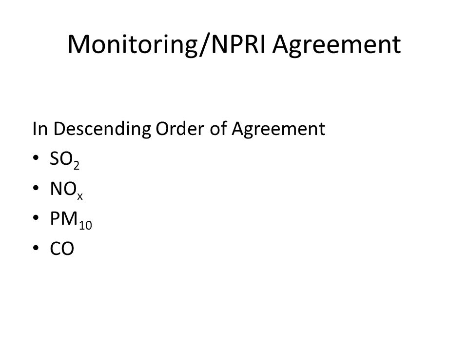 Monitoring/NPRI Agreement In Descending Order of Agreement SO 2 NO x PM 10 CO