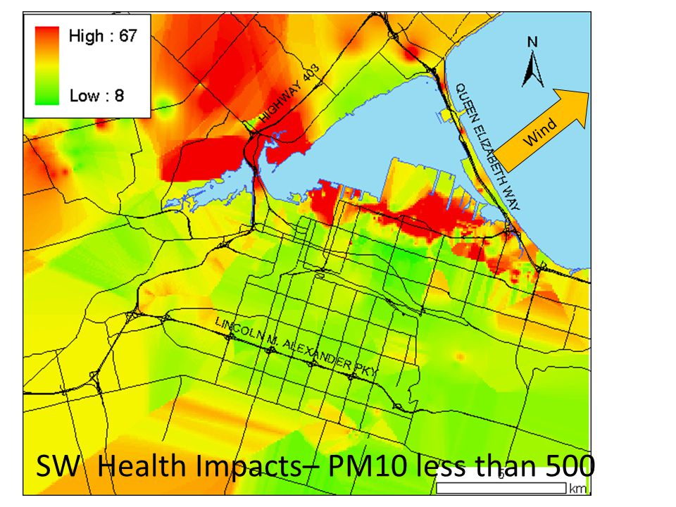 SW Health Impacts– PM10 less than 500 Wind