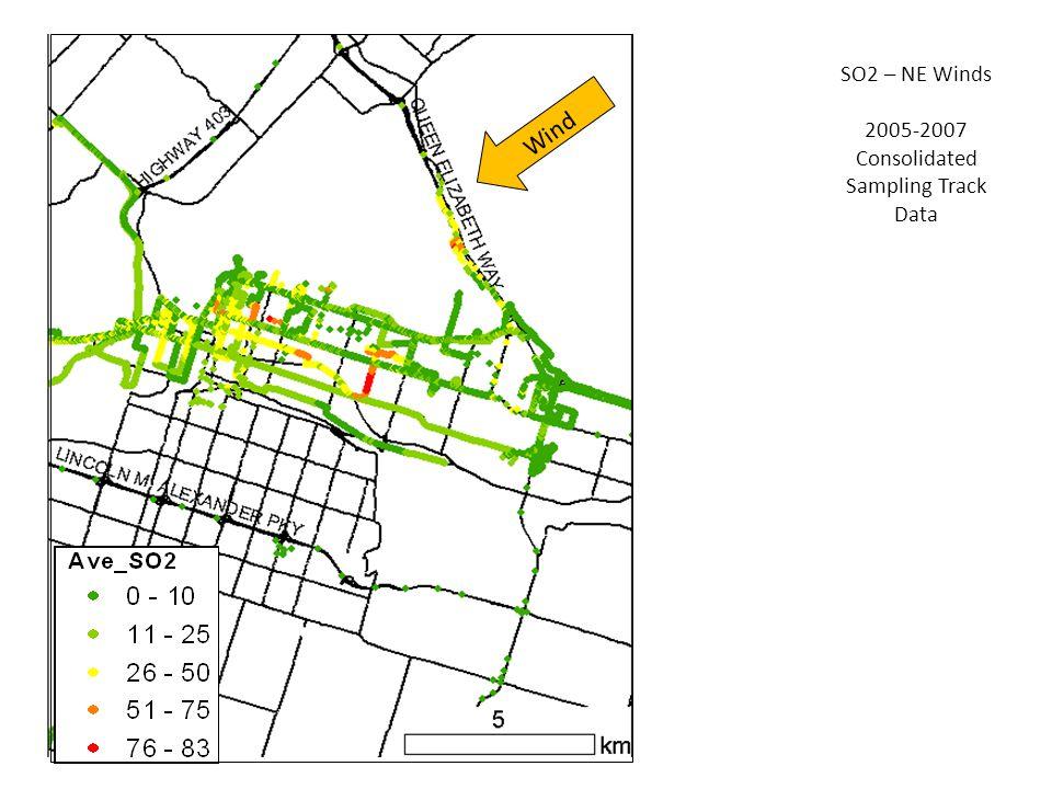 SO2 – NE Winds 2005-2007 Consolidated Sampling Track Data Wind