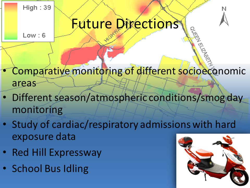 Future Directions Comparative monitoring of different socioeconomic areas Different season/atmospheric conditions/smog day monitoring Study of cardiac/respiratory admissions with hard exposure data Red Hill Expressway School Bus Idling