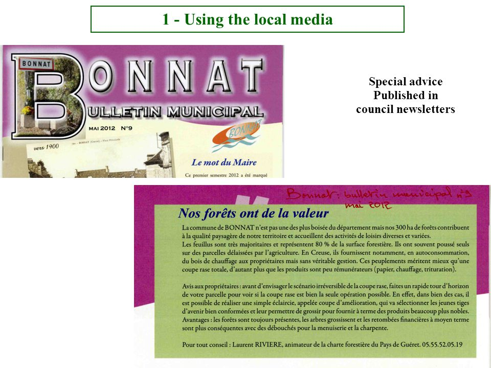Special advice Published in council newsletters 1 - Using the local media