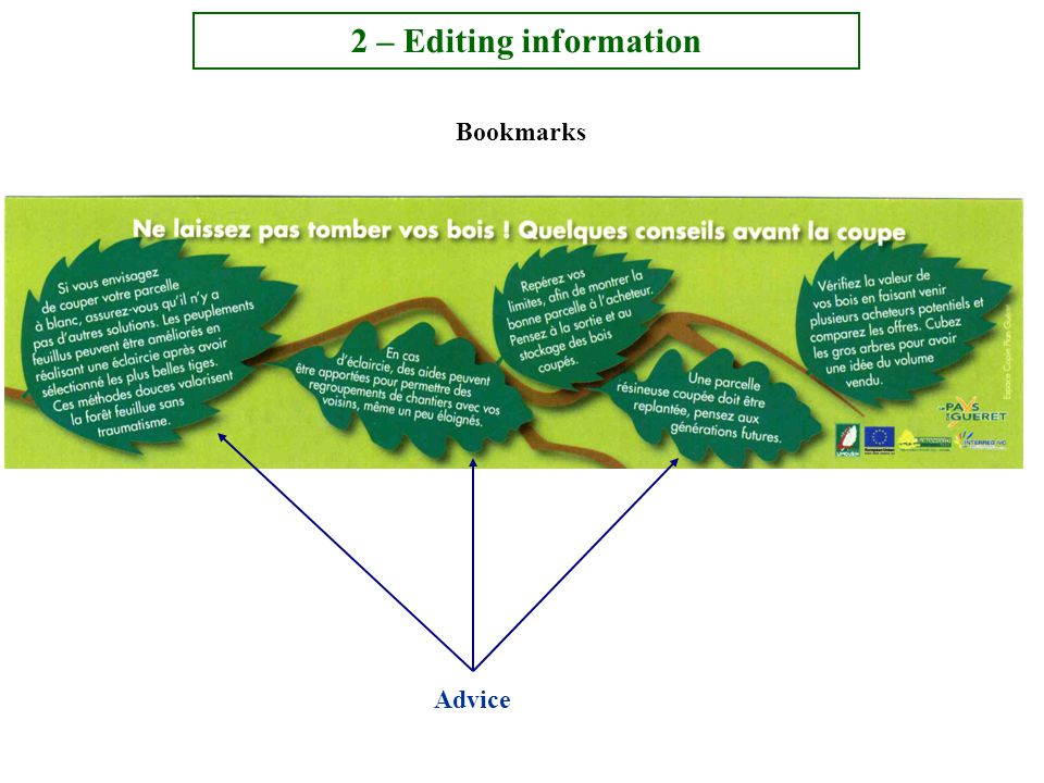 Bookmarks 2 – Editing information Advice