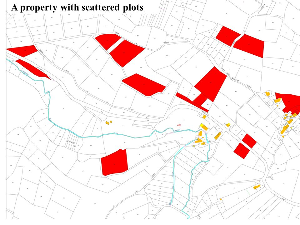 A property with scattered plots