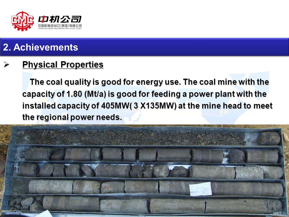 版权所有: CMC 11  Physical Properties The coal quality is good for energy use.
