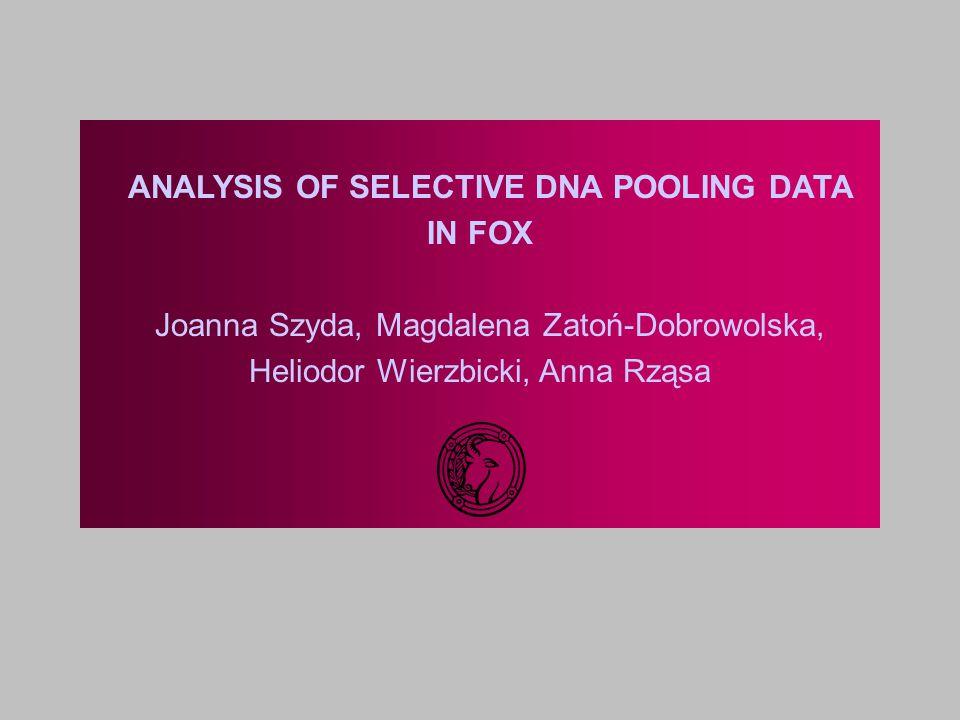 ANALYSIS OF SELECTIVE DNA POOLING DATA IN FOX Joanna Szyda, Magdalena Zatoń-Dobrowolska, Heliodor Wierzbicki, Anna Rząsa