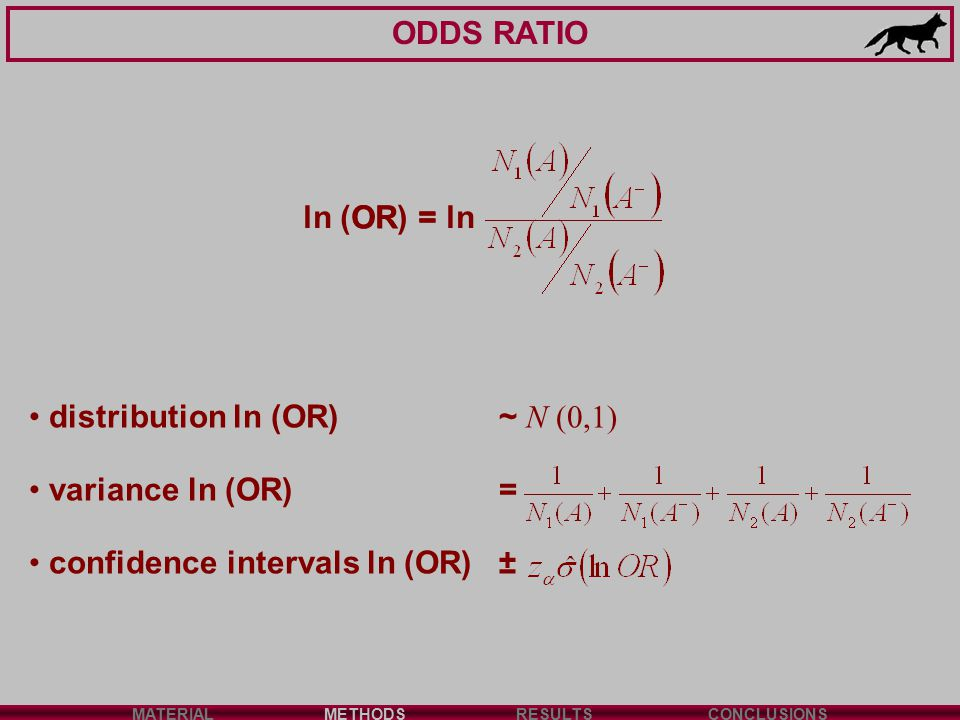 ODDS RATIO MATERIALMETHODSRESULTSCONCLUSIONS ln (OR) = ln distribution ln (OR) ~ N (0,1) variance ln (OR) = confidence intervals ln (OR)±