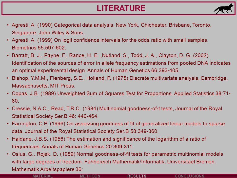 LITERATURE MATERIALMETHODSRESULTSCONCLUSIONS Agresti, A. (1990) Categorical data analysis. New York, Chichester, Brisbane, Toronto, Singapore. John Wi