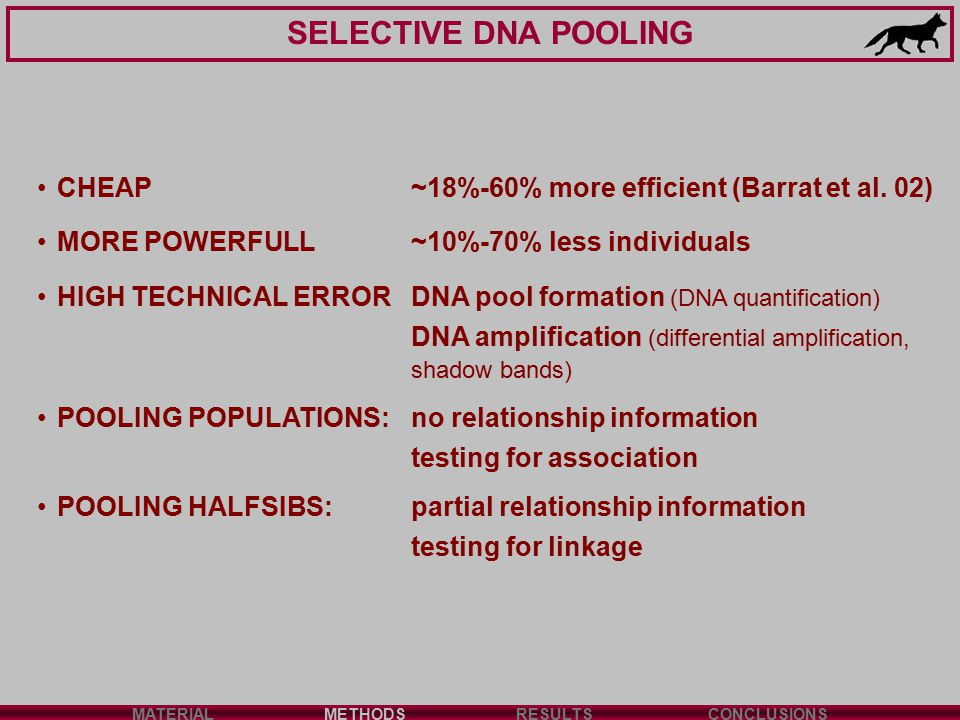 SELECTIVE DNA POOLING MATERIALMETHODSRESULTSCONCLUSIONS CHEAP~18%-60% more efficient (Barrat et al. 02) MORE POWERFULL~10%-70% less individuals HIGH T