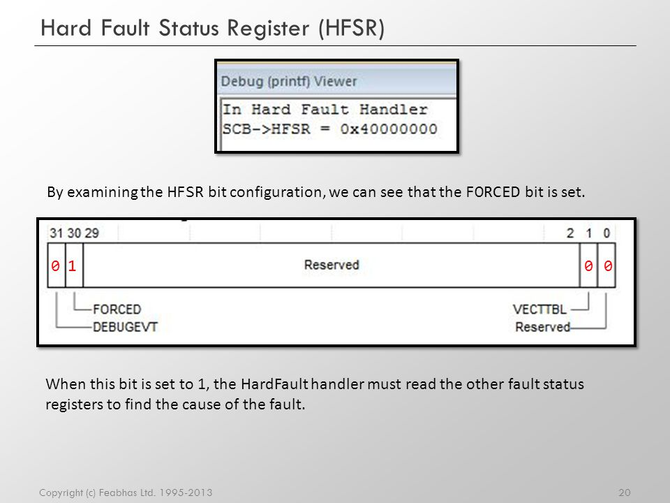 Hard Fault Status Register (HFSR) 20Copyright (c) Feabhas Ltd. 1995-2013 By examining the HFSR bit configuration, we can see that the FORCED bit is se