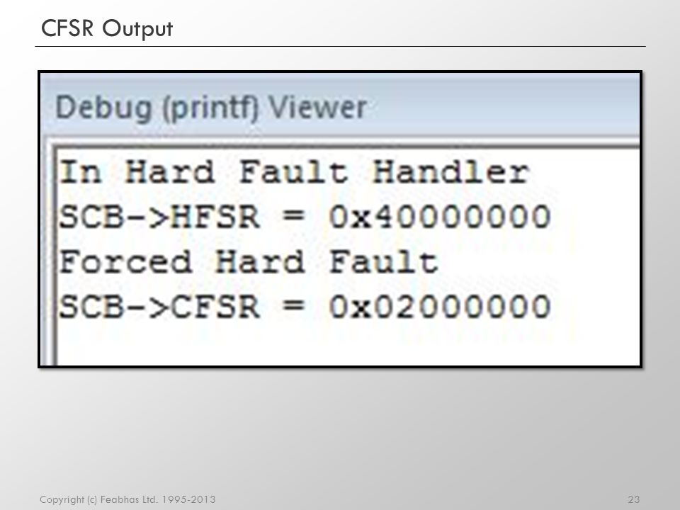 Usage Fault Status Register (UFSR) 24Copyright (c) Feabhas Ltd.