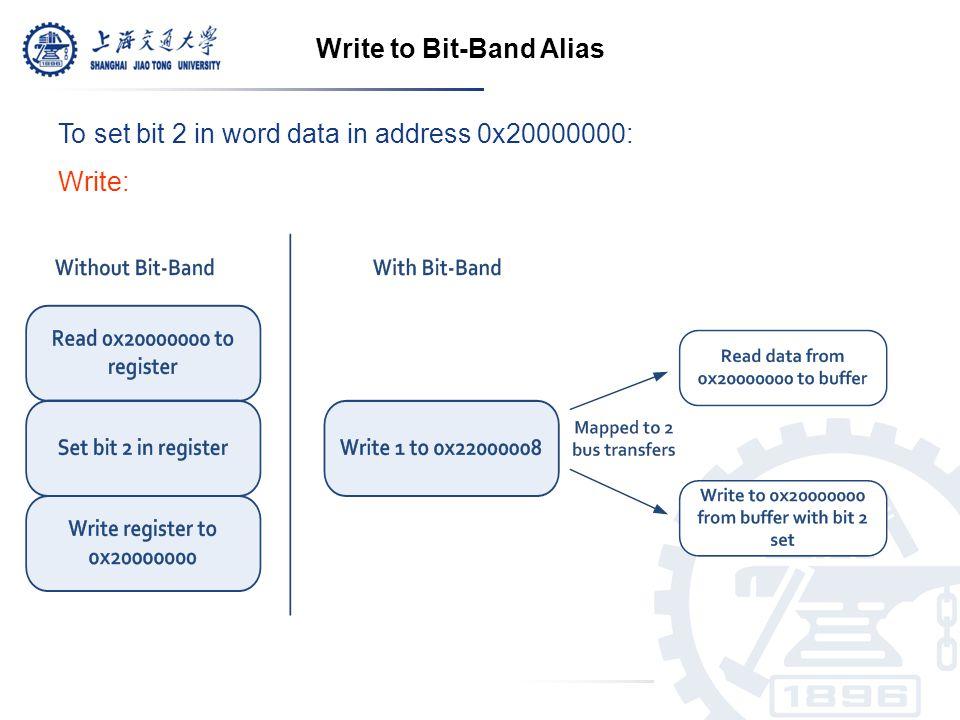 To set bit 2 in word data in address 0x20000000: Write: Write to Bit-Band Alias