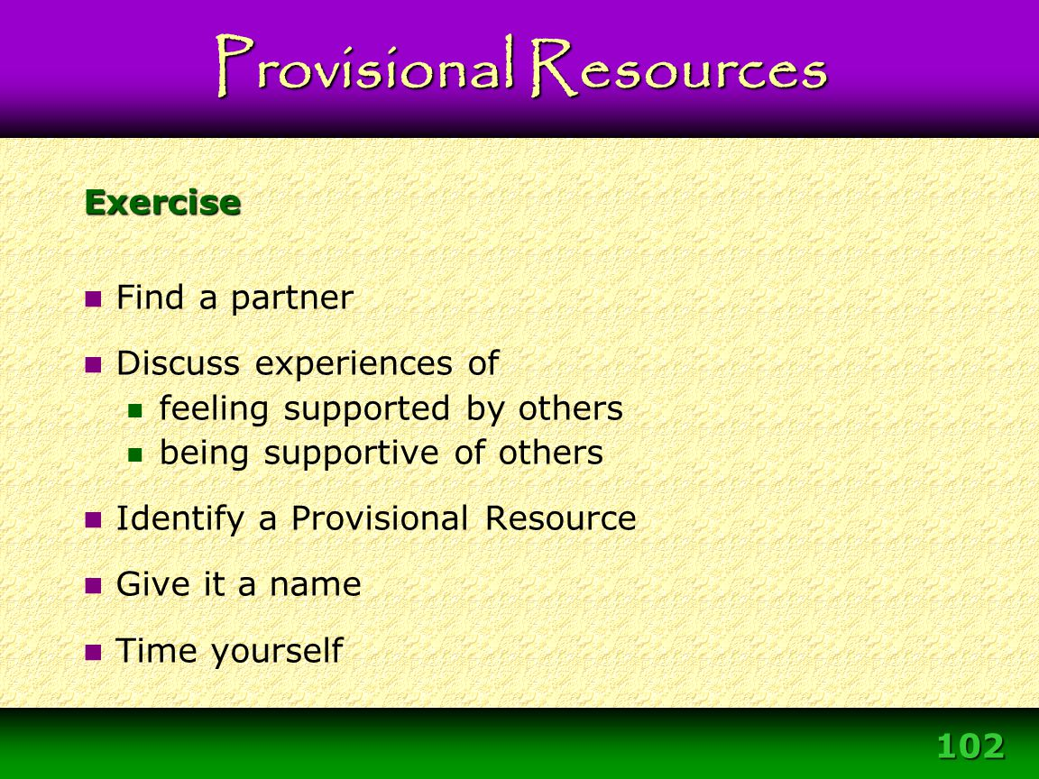 102 Exercise Find a partner Discuss experiences of feeling supported by others being supportive of others Identify a Provisional Resource Give it a na