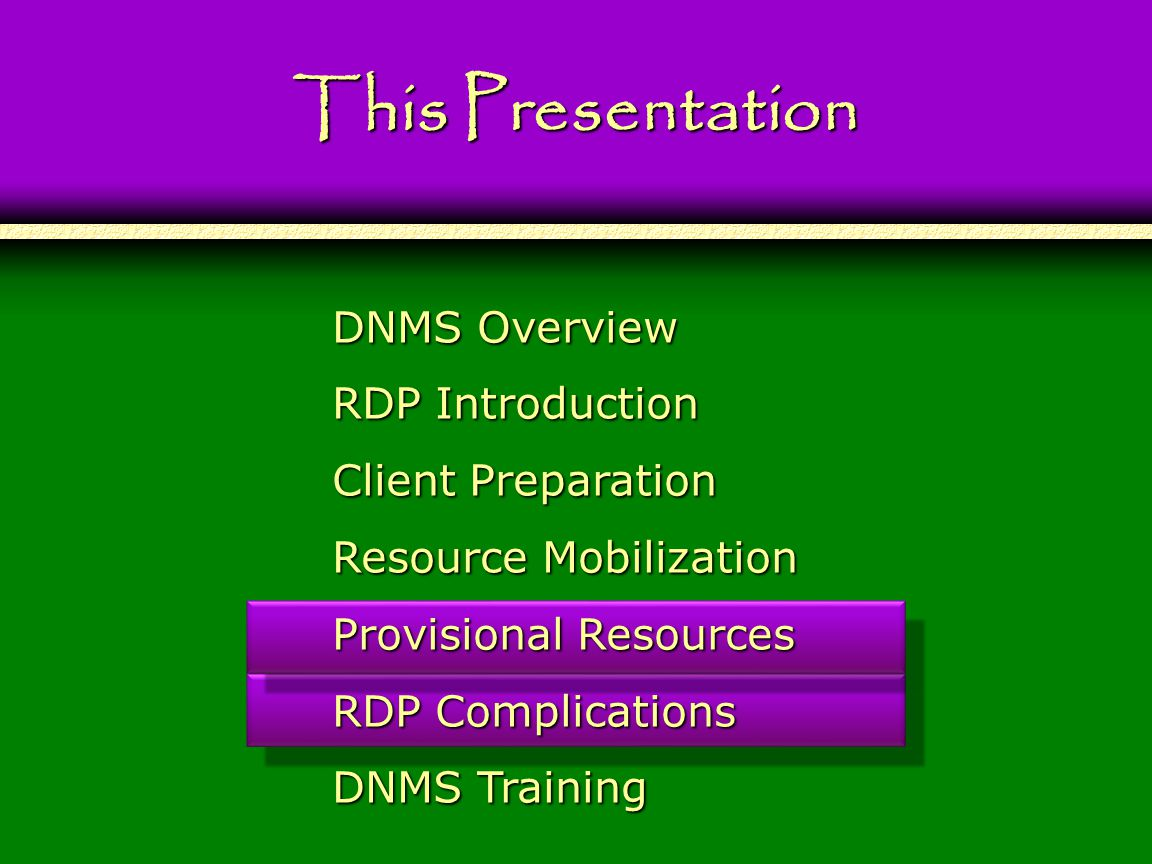 104 This Presentation DNMS Overview RDP Introduction Client Preparation Resource Mobilization Provisional Resources RDP Complications DNMS Training