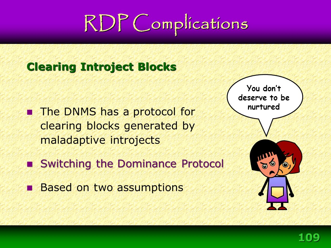 109 Clearing Introject Blocks The DNMS has a protocol for clearing blocks generated by maladaptive introjects Switching the Dominance Protocol Switchi