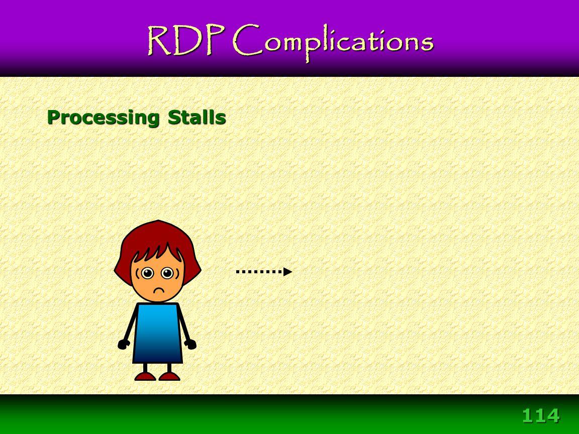 114 Processing Stalls RDP Complications