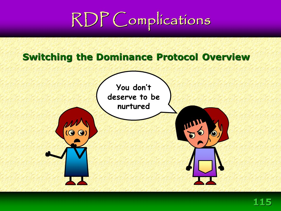 115 You don't deserve to be nurtured Switching the Dominance Protocol Overview RDP Complications