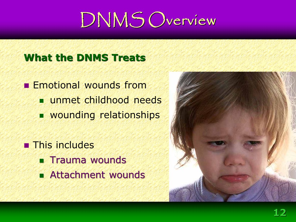 12 What the DNMS Treats Emotional wounds from unmet childhood needs wounding relationships This includes Trauma wounds Trauma wounds Attachment wounds