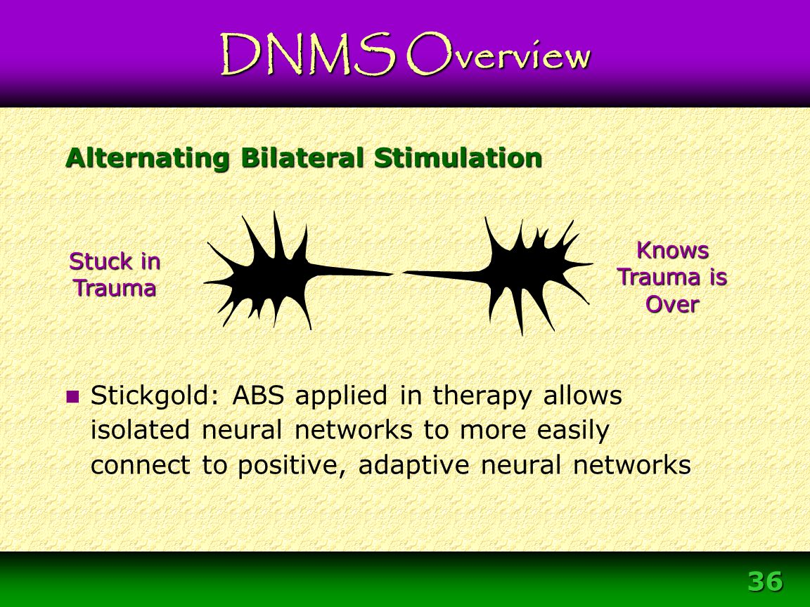 36 Alternating Bilateral Stimulation s Stickgold: ABS applied in therapy allows isolated neural networks to more easily connect to positive, adaptive