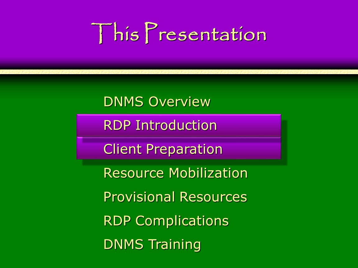 47 This Presentation DNMS Overview RDP Introduction Client Preparation Resource Mobilization Provisional Resources RDP Complications DNMS Training