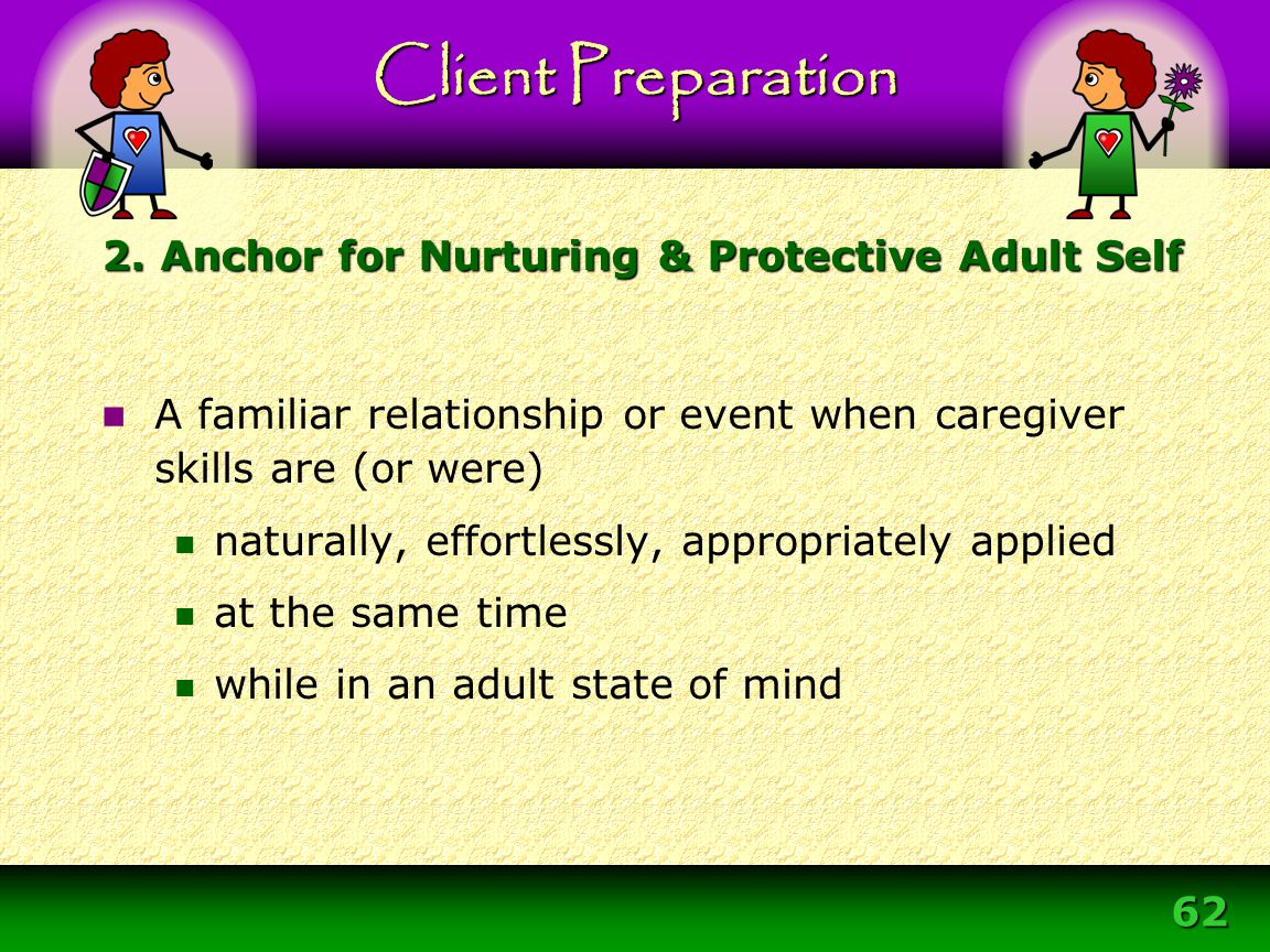 62 A familiar relationship or event when caregiver skills are (or were) naturally, effortlessly, appropriately applied at the same time while in an ad