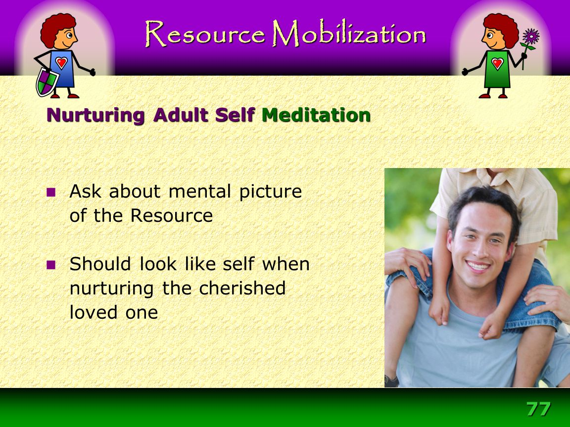 77 Resource Mobilization Ask about mental picture of the Resource Should look like self when nurturing the cherished loved one Nurturing Adult Self Me