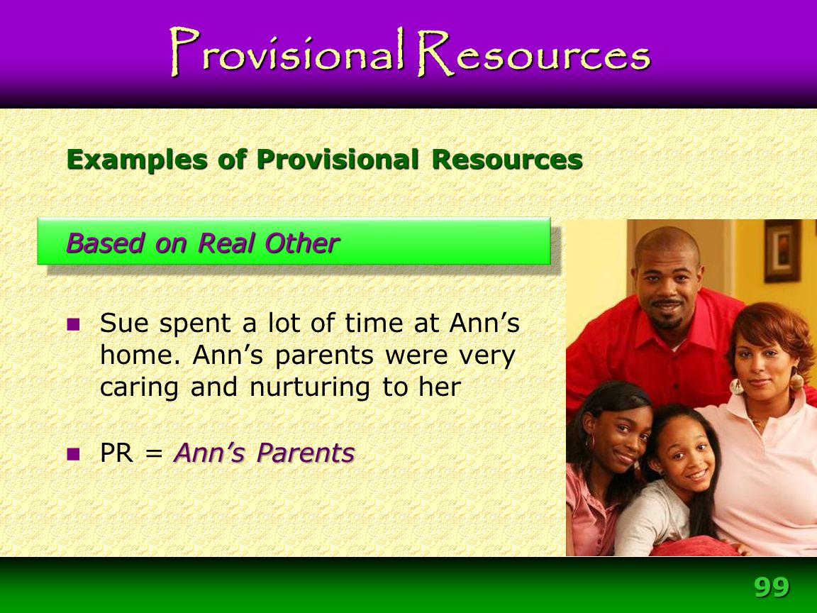 99 Examples of Provisional Resources Based on Real Other Sue spent a lot of time at Ann's home. Ann's parents were very caring and nurturing to her An