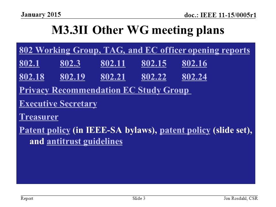 Report doc.: IEEE 11-15/0005r1 M3.4 II Meeting room locations MOBILE DEVICE SCHEDULE http://802world.org/attendee Slide 4Jon Rosdahl, CSR January 2015