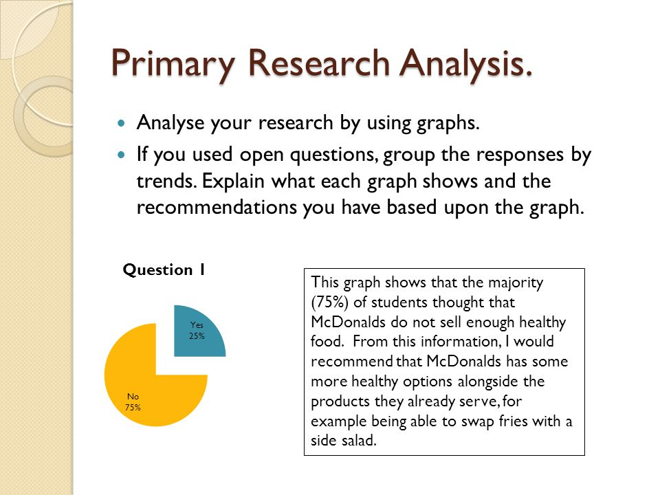 Primary Research Analysis. Analyse your research by using graphs. If you used open questions, group the responses by trends. Explain what each graph s