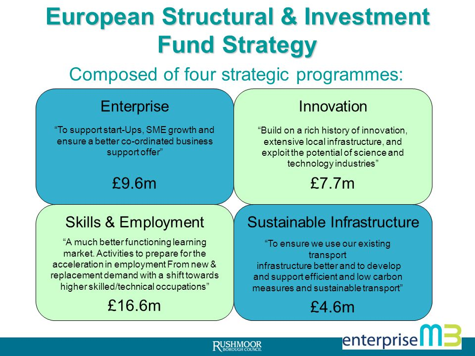 £39m EU funds allocated to the area from 2014-2020 Strategy sets out needs, priorities and expected outcomes from this funding EU funding must be matched by domestic funding Timescales Final document in January 2014 Issue prospectus in Spring Funding from mid 2014.