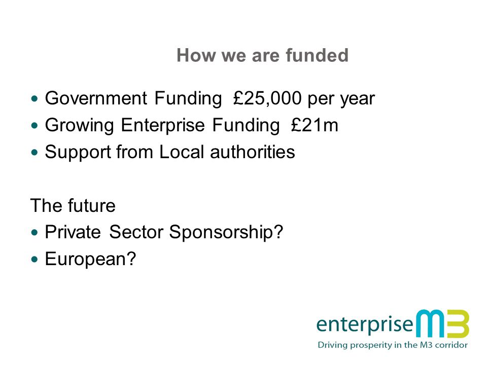 How we are funded Government Funding £25,000 per year Growing Enterprise Funding £21m Support from Local authorities The future Private Sector Sponsorship.